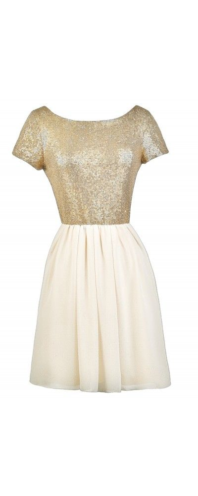 Lily Boutique Get Glowing Capsleeve Sequin Beige Party Dress, $38 Beige and Gold Sequin Party Dress, Cute Cocktail Dress, Sequin Party Dress www.lilyboutique.com