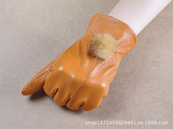 2016 New Leather Warm Gloves Warm Winter Sheep Skin Gloves Lady Driving Riding Gloves Sheepskin Gloves Super Soft  B-3691