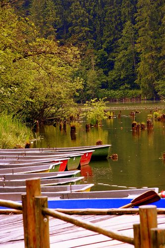 Boats along the Shore of Red Lake in Ivanes ~ Neamt, Romania