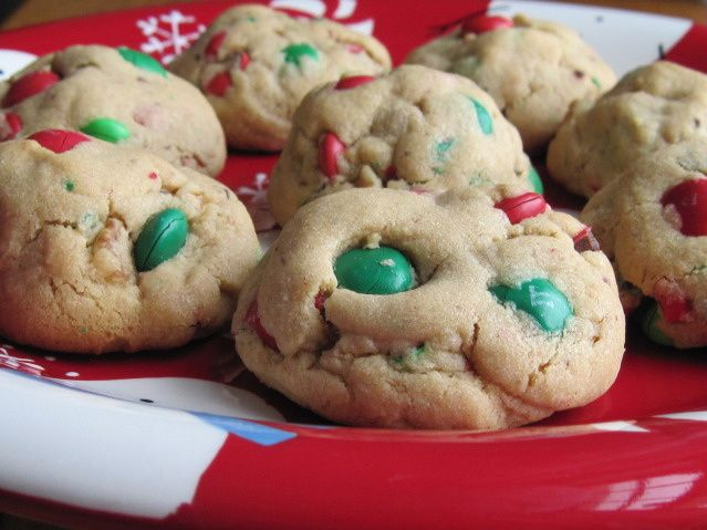 Peanut Butter M&M Cookies. Try using reese's pieces instead of m&ms.