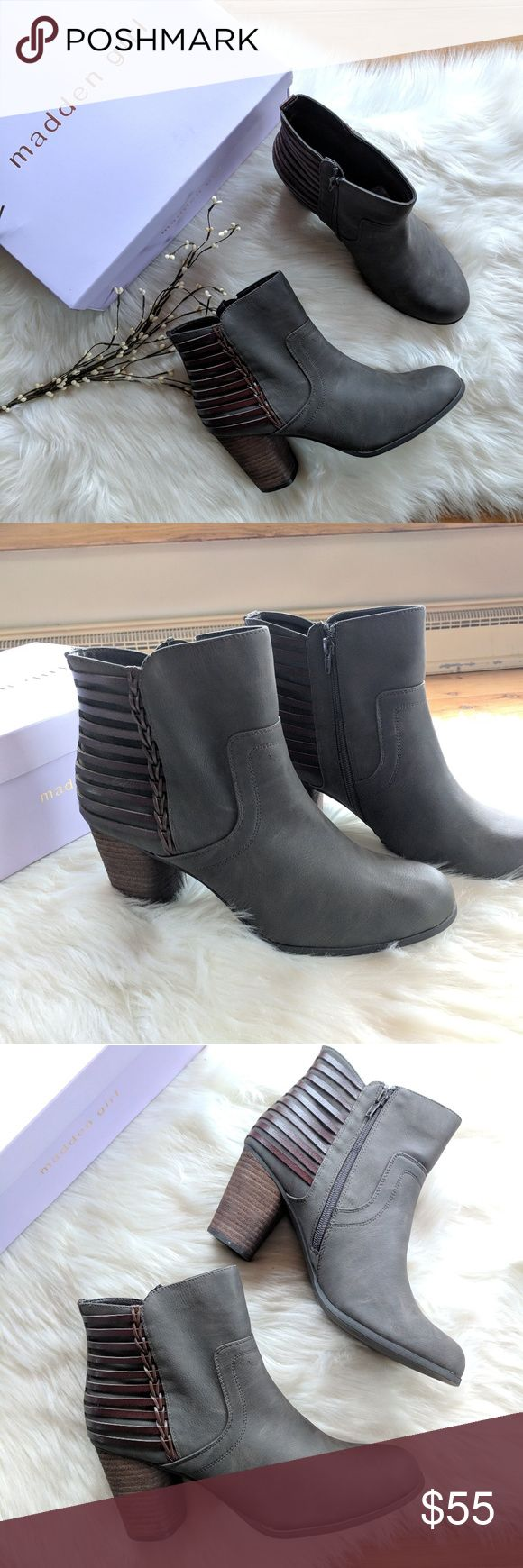 """{Madden Girl} dusk stone Pari boots New with tags. These heeled ankle boots are sure to catch your eye. Dusk stone color. Stacked heel is about 3.25 - 3.5"""" high. Back zipper opening. Leather like straps across the back add an adorable touch. Size 11 Madden Girl Shoes Ankle Boots & Booties"""