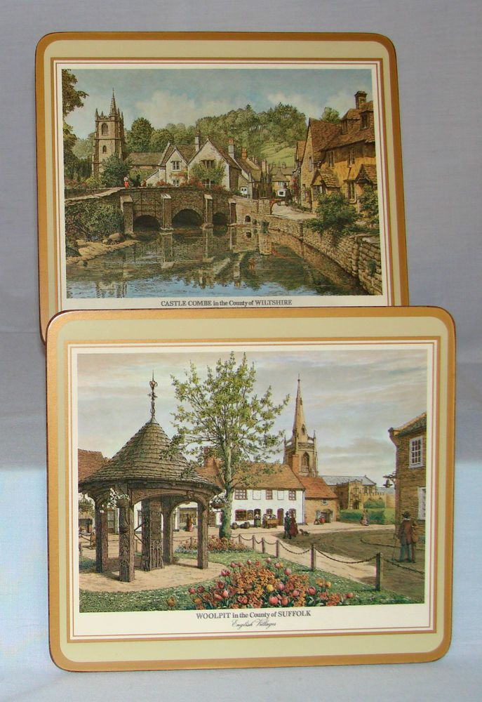 6 - Pimpernel ENGLISH VILLAGE PLACEMATS Cork Back ~ Original Hot Plate Size