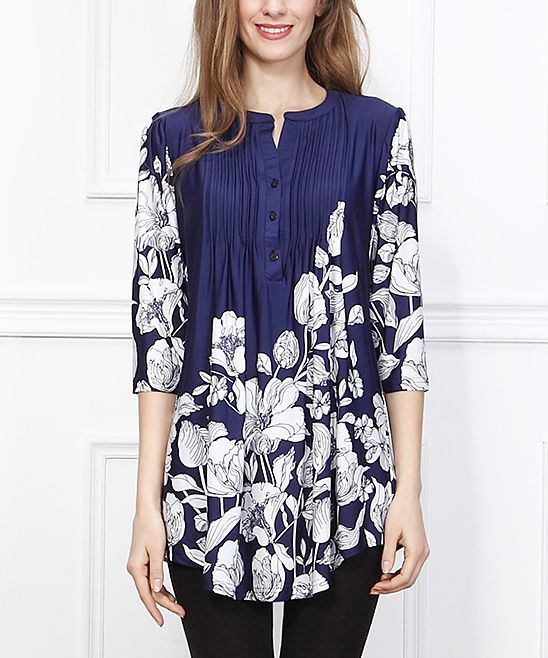 Reborn Collection Navy & White Floral Notch Neck Tunic ...