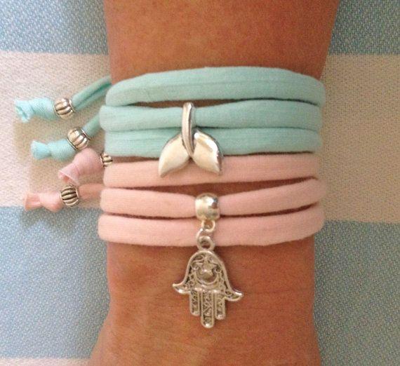 wrap bracelet, t shirt fabric bracelet or necklace / choker, mermaid jewelry, bohemian accessory, beach bracelet, beachcomber jewelry