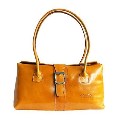 Buckle Lock Yellow Leather Shoulder Bag - £59.99