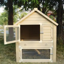 Perfect for little peeps before they are ready to join the flock.Backyards Projects, Barrington Townhouse, Angora Rabbit, Townhouse Rabbit, Chicken Coops, Rabbit Hutches, Animal House, Bunnies Stuff, Coops Ideas