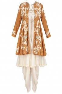 Mustard Floral Embroidered Jacket with Beige Tunic and Dhoti Pants by Aditi Somani.