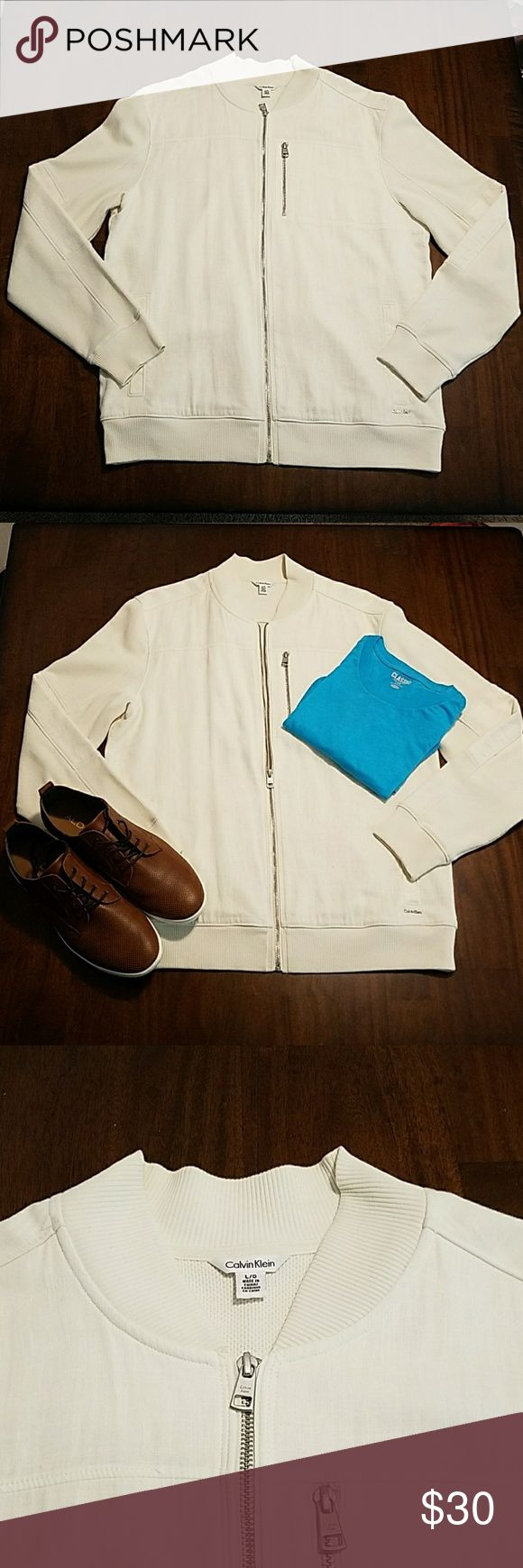 Calvin Klein lightweight bomber jacket Calvin Klein lightweight bomber jacket, almost like new! Size is large and color is off-white, very stylish and versatile. Calvin Klein Jackets & Coats Lightweight & Shirt Jackets