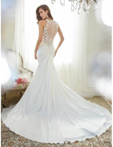 Robe de mariée 2015 satin sirène sans manches zip