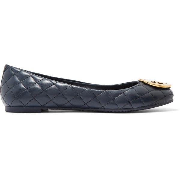 Tory Burch Quinn quilted glossed-leather ballet flats ($145) ❤ liked on Polyvore featuring shoes, flats, navy, ballet shoes, leather ballet flats, ballet flats, navy blue shoes and navy blue flats