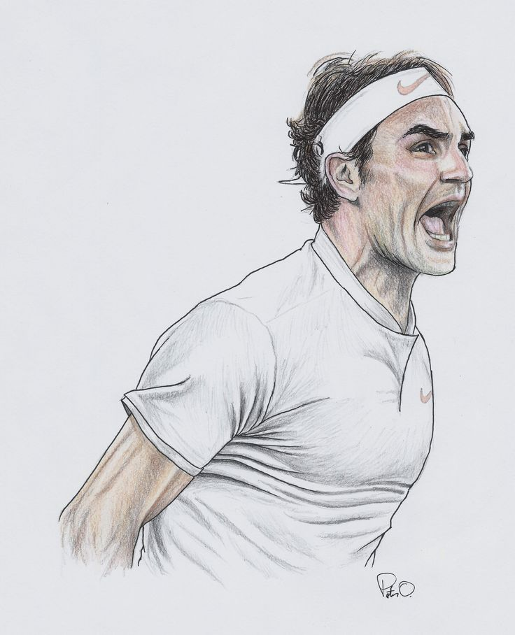 Roger Federer. 19 Grand Slams and counting. Colored pencils on paper. #RogerFederer