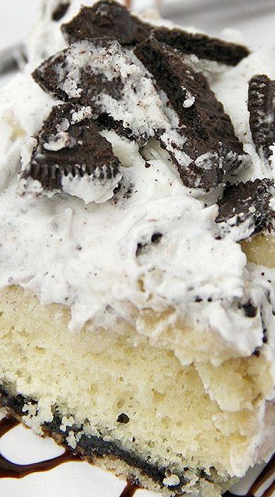White Chocolate Oreo Pudding Poke Cake