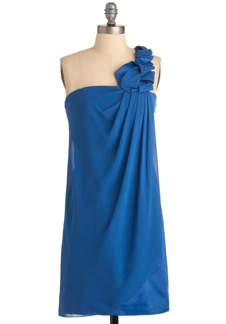 An Evening in Atlantis Dress by Max and Cleo - Mid-length, Blue, Solid, Pleats, Trim, Sheath / Shift, One Shoulder, Formal, Prom, Wedding