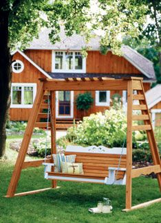 You can build this beautiful outdoor swing that will be a perfect place to rest on a cool summer evening. It's strong and durable, plus you can hang it on the porch or build a support frame so it can be used anywhere. The article gives step-by-step instructions for building both the swing and the support frame. Detailed plans are included.data-pin-do=