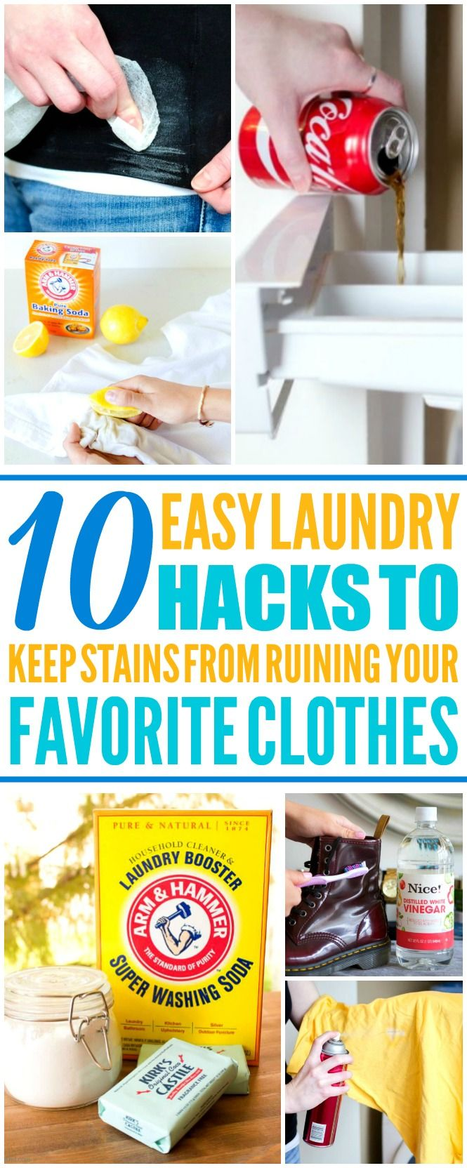 These 10 easy laundry hacks are THE BEST! I'm so happy I found these AWESOME tips! Now I have some great ways to get rid of stains! Definitely pinning!