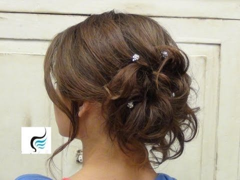 ▶ Soft Curled Updo for Long Hair Prom or Wedding Hairstyle - YouTube