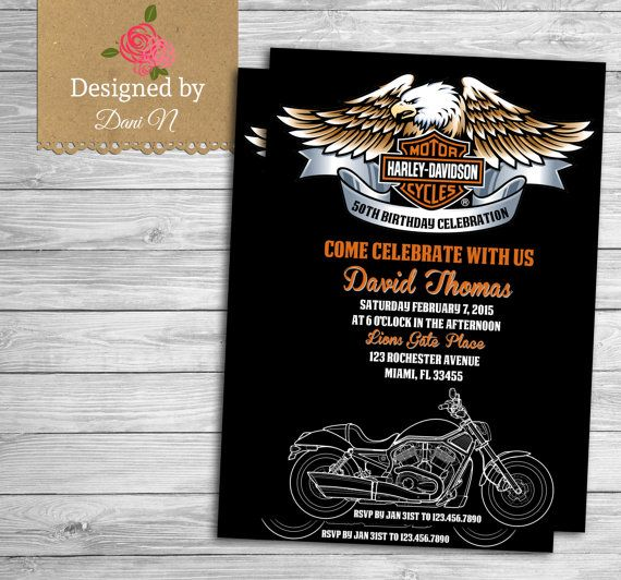 17 Best images about Harley Davidson Theme Party – Free Printable Harley Davidson Birthday Cards