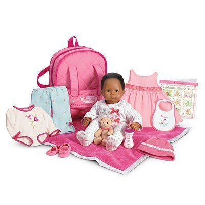 American Girl bitty Doll Starter Collection African American playset by American Girl. $219.99. Give your girl a Bitty Baby to love and hug! The Starter Collection includes: A soft cotton sleeper trimmed with pink bows A soft diaper A sleeveless pink jumper with a full skirt and grosgrain ribbon trim A long-sleeved bodysuit with a heart-flower graphic and contrast binding Printed blue pants with bow details at the leg openings A knit hat with a lacy brim Soft-soled booties w...