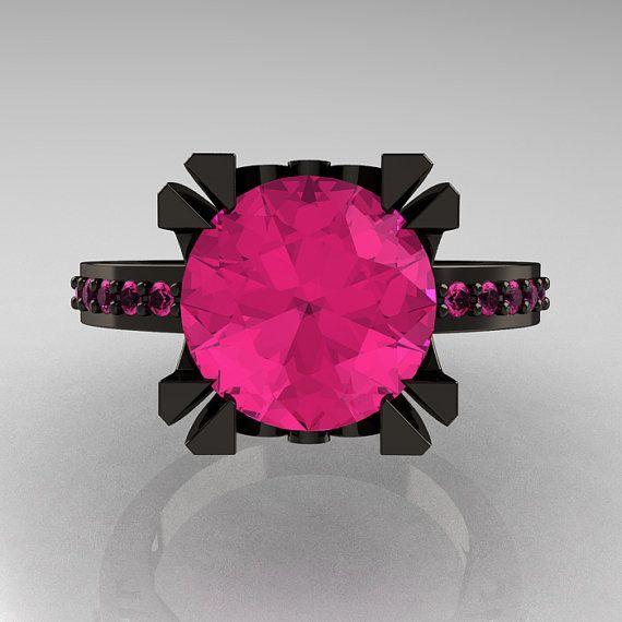 Modern Vintage 14K Black Gold 30 Carat Pink Sapphire Ring