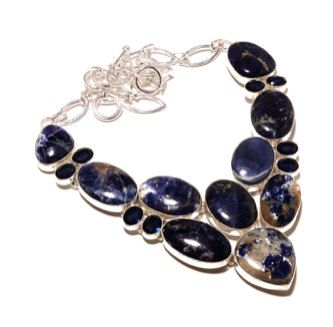 925 Sterling Silver Necklace and/or Matching Bracelet with Huge Blue Sodalite Genuine Gemstone Statement Bib Necklace and Bracelet!! by Ameogem on Etsy