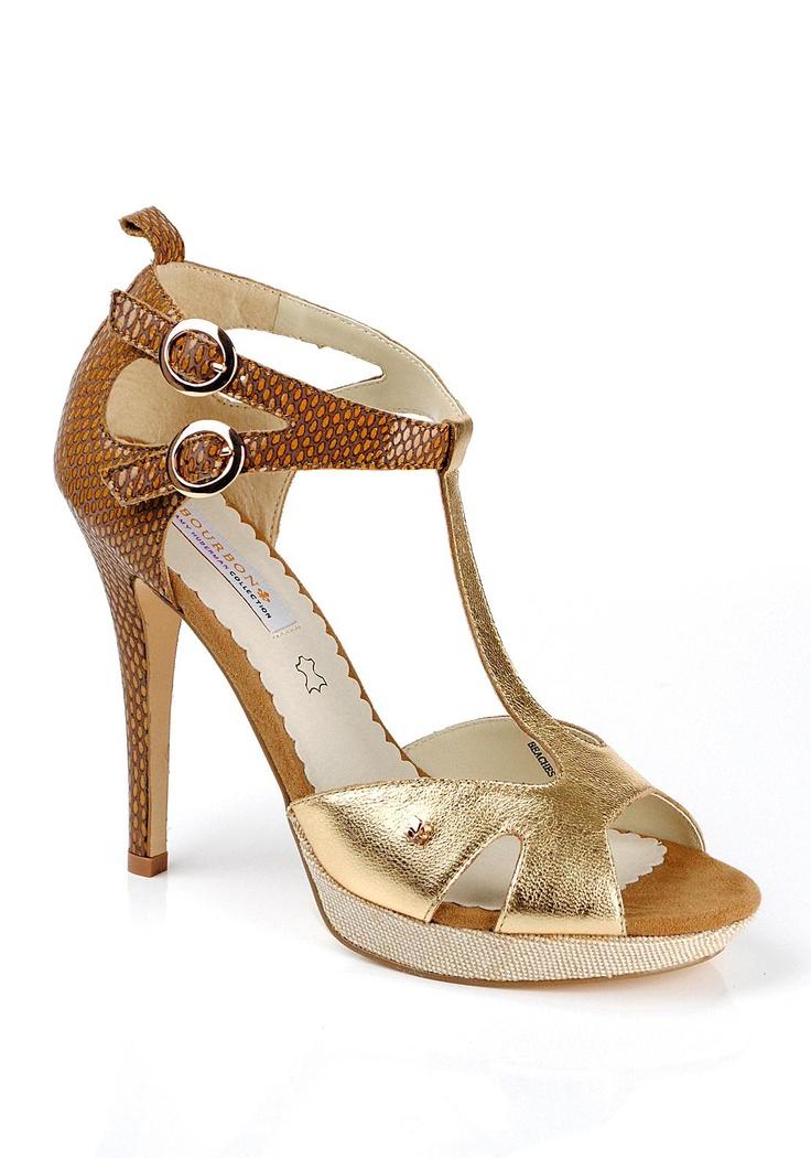 Bourbon The Amy Huberman Collection T-Bar Sandal, Gold   McElhinneys Online Department Store