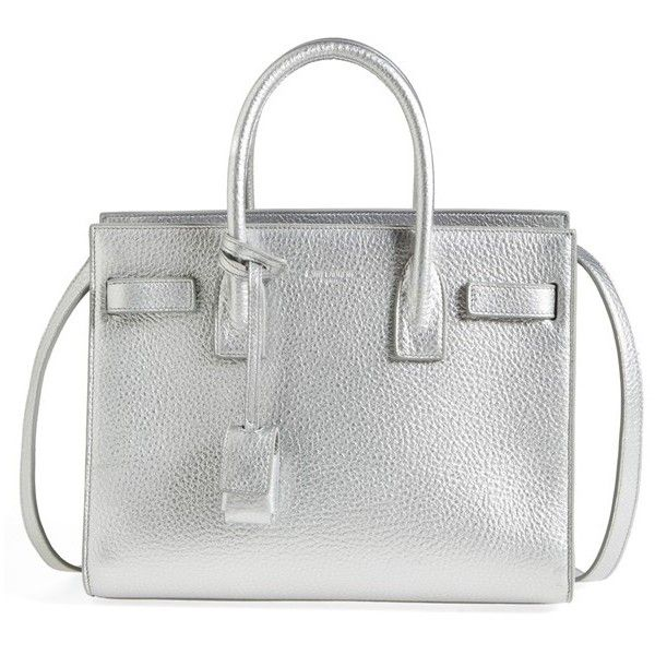 Women's Saint Laurent 'Baby Sac De Jour' Metallic Leather Tote (5,125 BAM) ❤ liked on Polyvore featuring bags, handbags, tote bags, platine, metallic leather tote, leather tote, leather purses, handbags totes and leather handbag tote