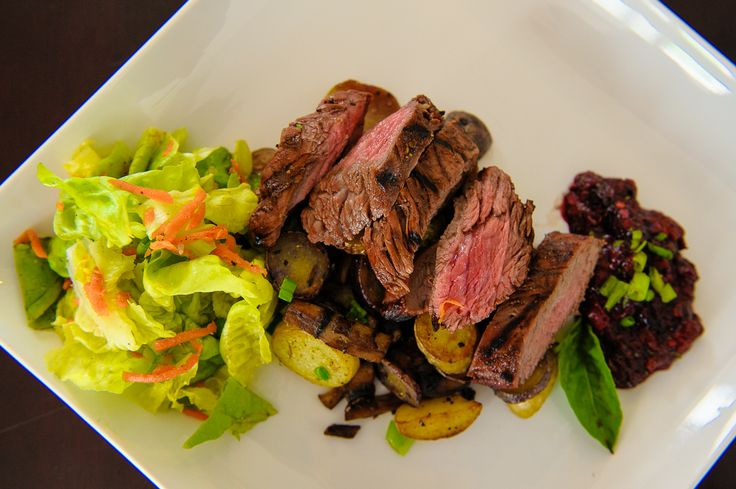 Cocoa Marinated Flank Steak, Sauteed Potatoes & Mushrooms with a Mixed Berry & Basil Chutney, served with a Butter Lettuce Salad. Ingredients to use; Flank Steak, Cocoa Powder, Mixed Berries, White Wine, Mushrooms
