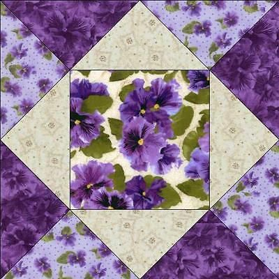 Debbie Beaves Lovely Purple Cream Lavender Floral Pansy Fabric Quilt Block Kit in Crafts, Sewing & Fabric, Quilting   eBay