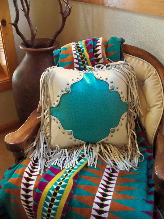 Hand crafted leather Western style  pillow, ostrich and turquoise conchos, by Stargazer Mercantile