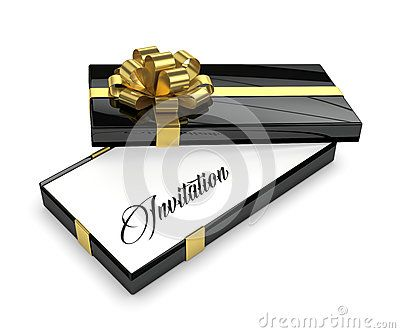 3d rendering of invitation in elegant gift box with open lid isolated over white background