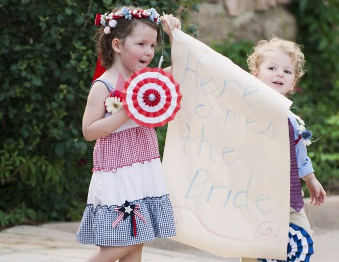 Flower girl & ring bearer for a 4th of July Wedding