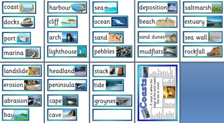 Free Geography Teaching Resources - Printable Coasts Vocabulary Cards and Word Mat
