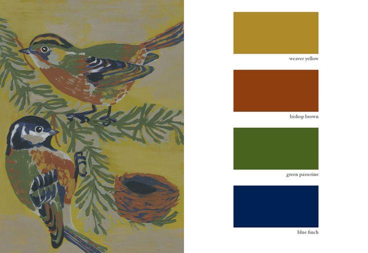 Weaver Birds. Illustration: Nathalie Lété. Color trends: weaver yellow; bishop brown; green passerine; blue finch.