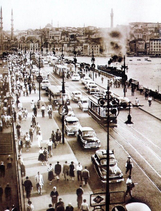 galata bridge istanbul turkey 1960's