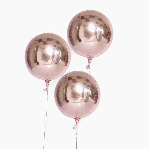 Orb Rose Gold Foil Sphere Balloon, Rose Gold Balloon, Metallic Balloon, Unique Balloon, Rose Gold Shere Balloon, Circle Balloon,Orbz Balloon