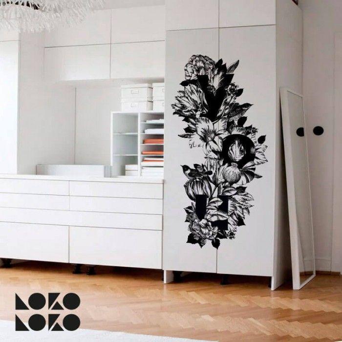 Vinilo de diseño floral para la decoración de puertas de armarios · #lokolokodecora