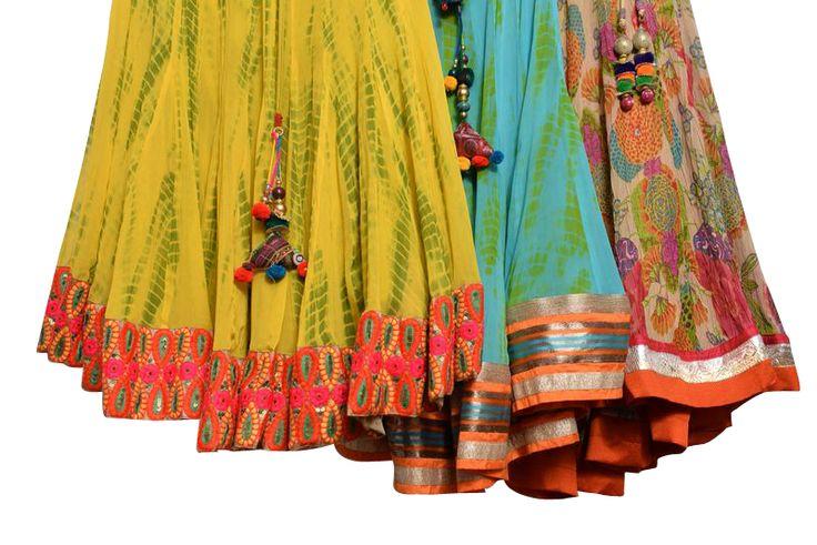 Chaniya choli and lehngas for navratri  HUES THAT TAKE YOUR BRETAH AWAY  NAVRATRI with colours from COLORS !!