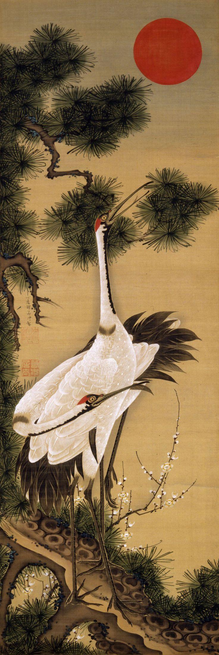 """Pair of cranes and the morning sun"" by Jakuchu ITO (1716-1800), Japan 伊藤若冲"