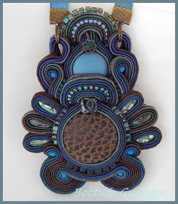 Panther  blue brown soutache pendant by BottyanGyongye on Etsy