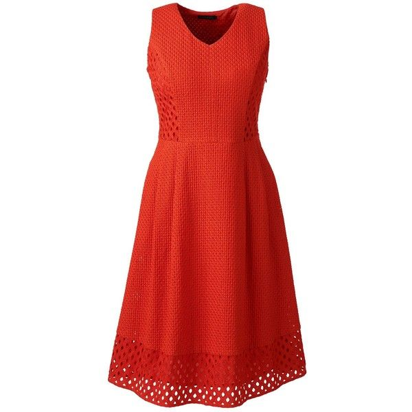 Lands' End Women's Petite Sleeveless Embroidered A-line Dress ($139) ❤ liked on Polyvore featuring dresses, orange, petite dresses, ball dresses, red ball dresses, sleeveless summer dresses and embroidered dress