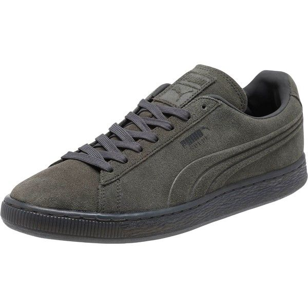 Puma Suede Embossed Iced Men's Sneakers ($70) ❤ liked on Polyvore featuring men's fashion, men's shoes, men's sneakers, dark shadow, mens sports shoes, mens sport shoes, mens suede sneakers, puma mens shoes and mens suede lace up shoes