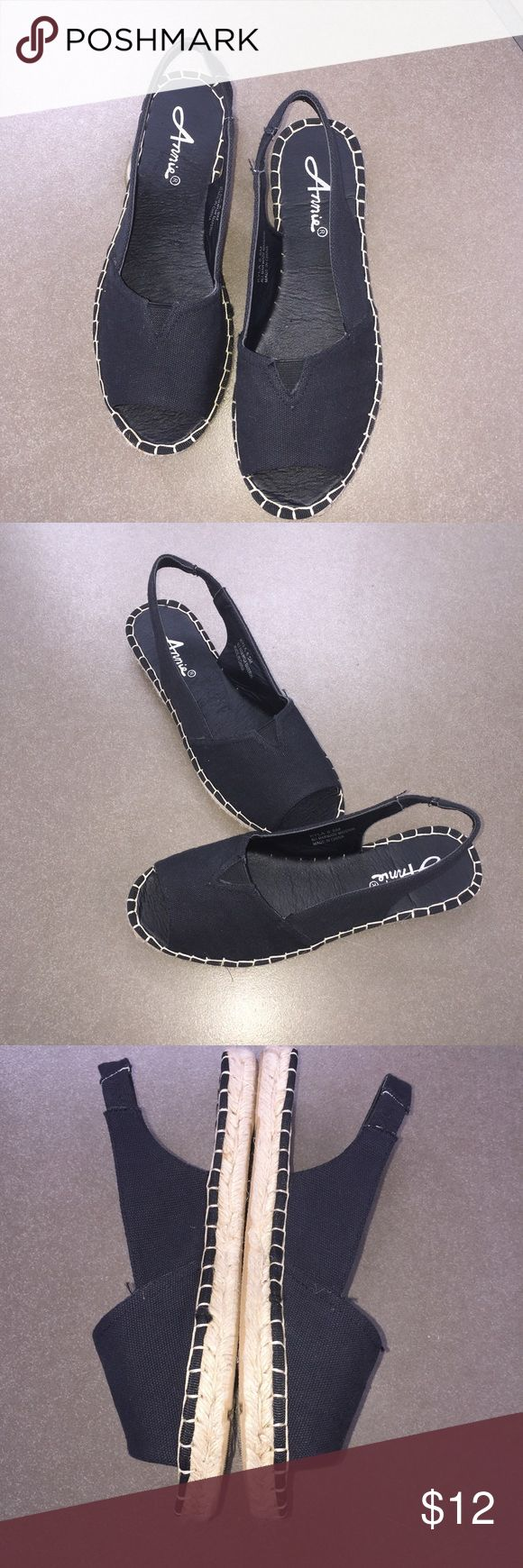 Sweet & comfortable black canvas sling back shoes Black canvas shoes with jute soles. Very comfortable and chic, a must for those warm summer days Kyla by Annie Shoes Sandals
