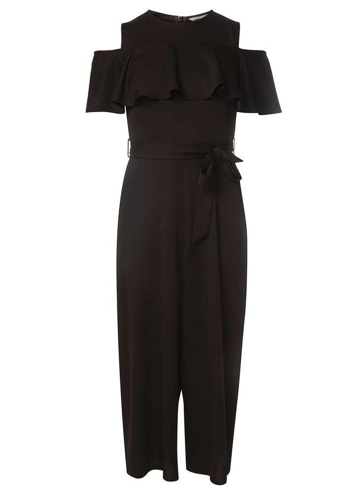 Womens Petite Black Satin Jumpsuit- Black