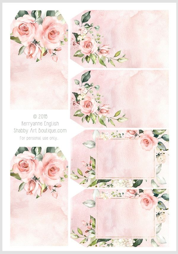 6 Printable Flower Tag Gift Tags Spring Flower Tags Instant Download Vintage Inspired Tag Flower