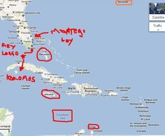 """The islands etc. mentioned in the Beach Boys song """"Kokomo"""". Montserrat and Martinique are not marked."""