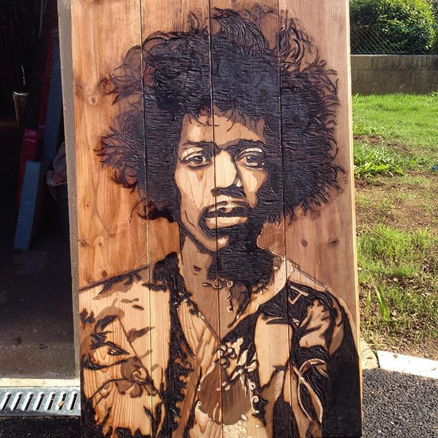 Jimi Hendrix Brulure et gravure sur bois BvLn 2017