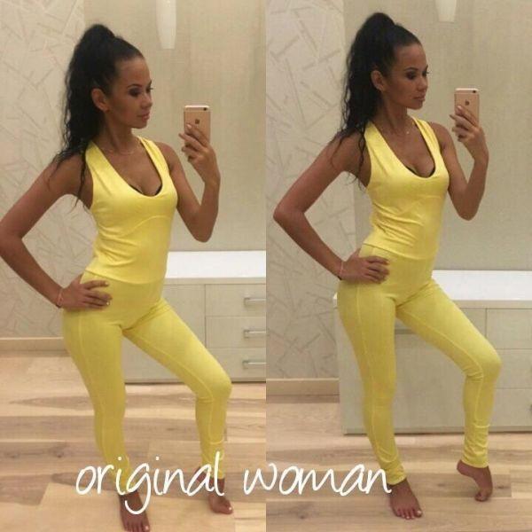 Комбинезон женский для занятий спортом желтый