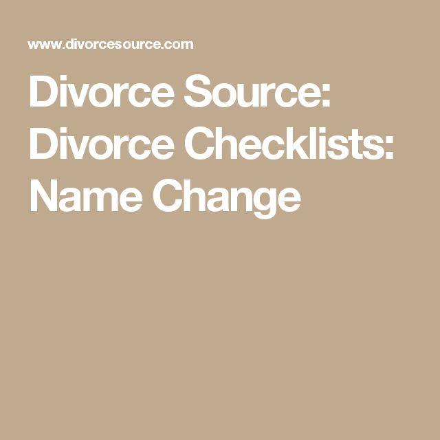 Divorce Source: Divorce Checklists: Name Change