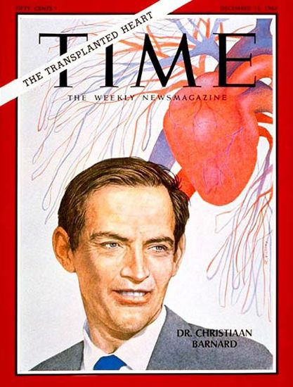 1967-12 Dr Christiaan Barnard Copyright Time Magazine - www.MadMenArt.com | Our favorite Vintage Magazine Covers from 1891 to 1970. A timeline of cover personalities and historic events. #Vintage #Magazine #Covers #Ads #VintageAds #MagazineCovers