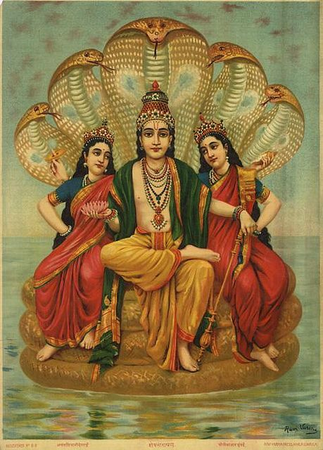 Laxmi devi and Earth goddess Bhumi, wives of Vishnu